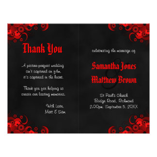 Black and Red Floral Goth Bi-Fold Wedding Program