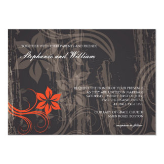 Black and Red Floral Swirl Wedding Invitation