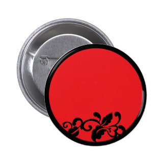 black and red flourish pinback buttons