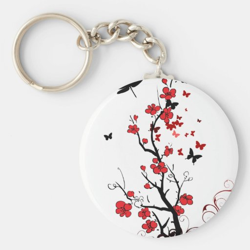 Black and Red Flowers Basic Round Button Keychain