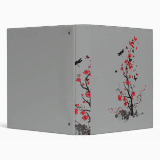 Black and Red flowers Binder