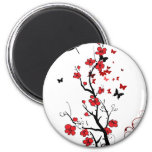 Black and Red Flowers Fridge Magnets