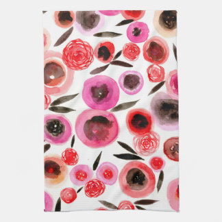 Black and Red Flowers Kitchen Towel