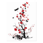 Black and Red Flowers Postcard