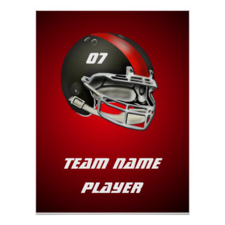 Black and Red Football Helmet Posters
