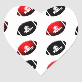 Black and Red Footballs Heart Sticker