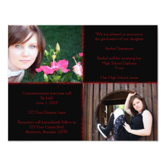 Black and Red Four Square Star Graduation Custom Invite