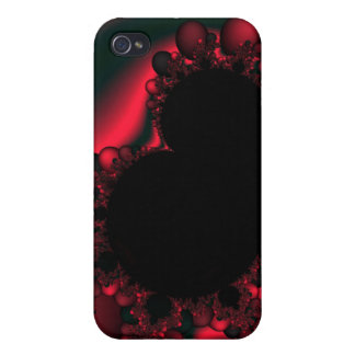 black and red fractal cover for iPhone 4