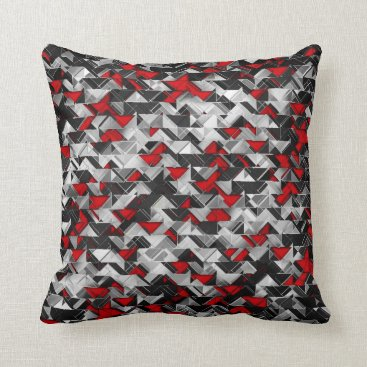 Aztec Themed Black and Red Geometric Explosion Throw Pillow