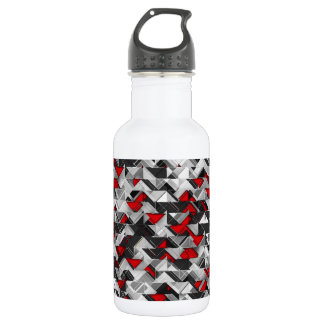 Black and Red Geometric Explosion Water Bottle