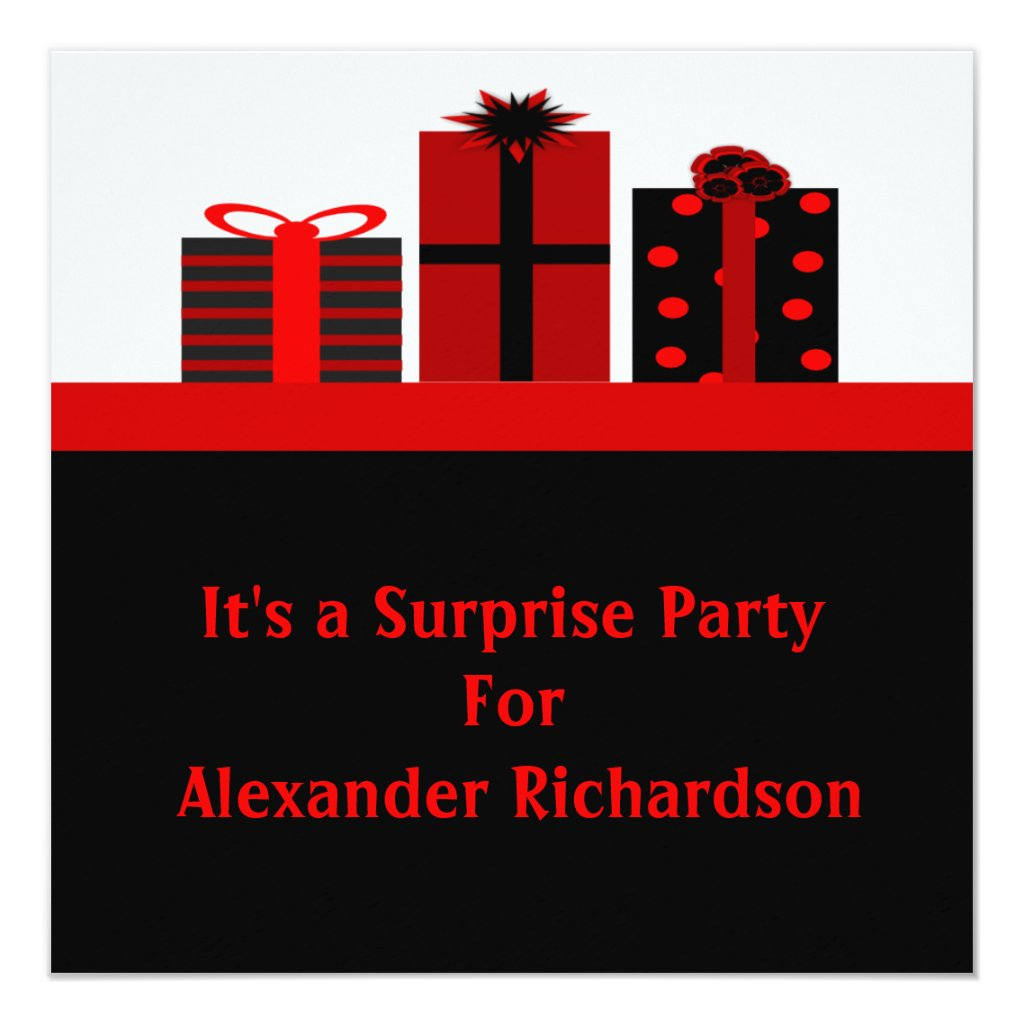 Black and Red Gifts Birthday Party