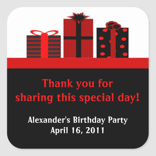 Black and Red Gifts Birthday Party Favor Labels