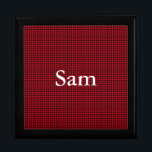"Black and Red Gingham Mens Keepsake Box<br><div class=""desc"">This fun hunters check graphic design looks great. The red and black square makes up a masculine gingham pattern. You&#39;ll find white letters you can customize to add anyone&#39;s name. The text is easy to customize.</div>"