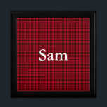 """Black and Red Gingham Mens Keepsake Box<br><div class=""""desc"""">This fun hunters check graphic design looks great. The red and black square makes up a masculine gingham pattern. You&#39;ll find white letters you can customize to add anyone&#39;s name. The text is easy to customize.</div>"""