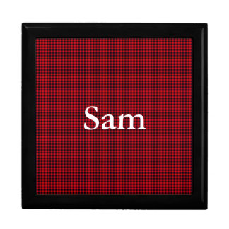 Black and Red Gingham Mens Keepsake Box