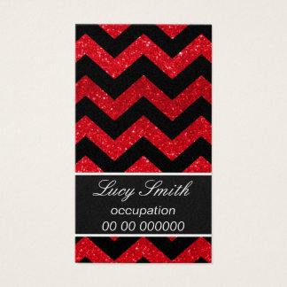 Black and Red Glitter Chevron Business Card