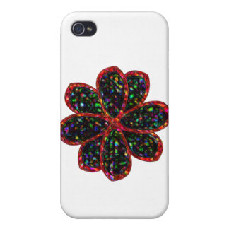 Black and Red Glitter Flower  Cases For iPhone 4