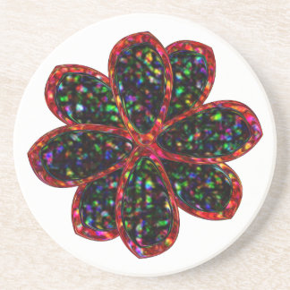Black and Red Glitter Flower Coasters