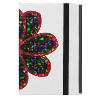 Black and Red Glitter Flower iPad Mini Case
