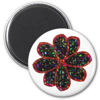Black and Red Glitter Flower Magnet