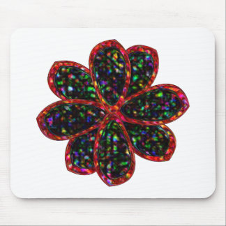 Black and Red Glitter Flower Mousepad