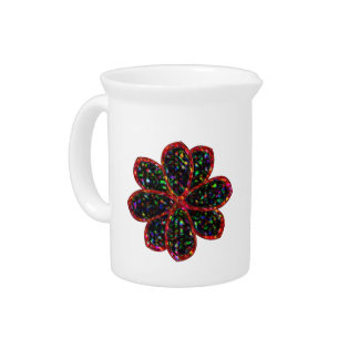 Black and Red Glitter Flower Pitcher