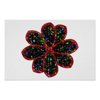 Black and Red Glitter Flower Poster
