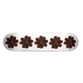 Black and Red Glitter Flower Skateboard