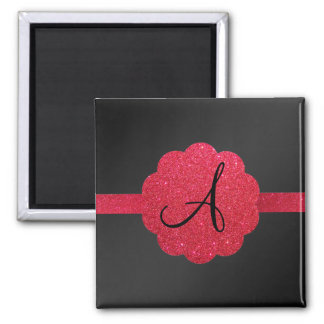 Black and red glitter monogram 2 inch square magnet