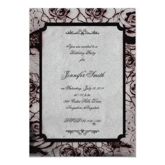 Black and Red Gothic Rose Birthday Invitation