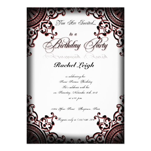 Black And Red Gothic Scroll Birthday Invitation 5 X 7