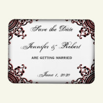 Black and Red Gothic Scroll Save the Date Magnet