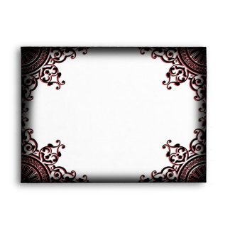 Black and Red Gothic Scroll Wedding Envelope