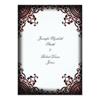 Black and Red Gothic Scroll Wedding Invitation