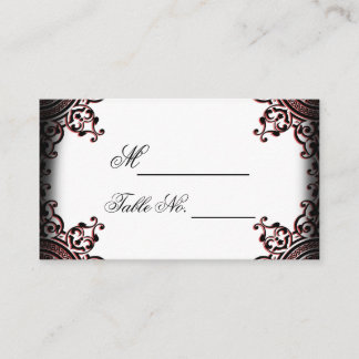 Black and Red Gothic Scroll Wedding Place Card