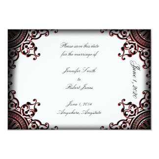 Black and Red Gothic Scroll Wedding Save the Date Card