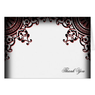 Black and Red Gothic Scroll Wedding Thank You Stationery Note Card