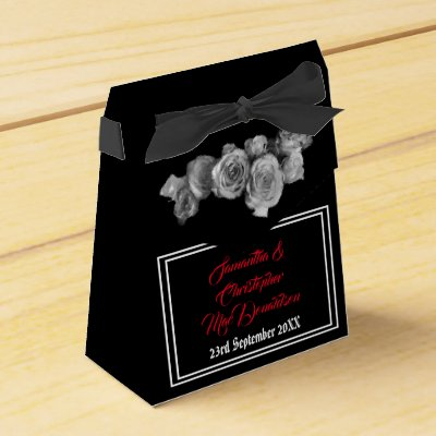 Black and red gothic skull floral wedding favor box