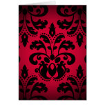 Black and red gothic victorian vintage damask card