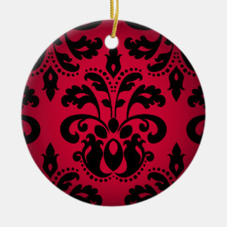 Black and red gothic victorian vintage damask ceramic ornament