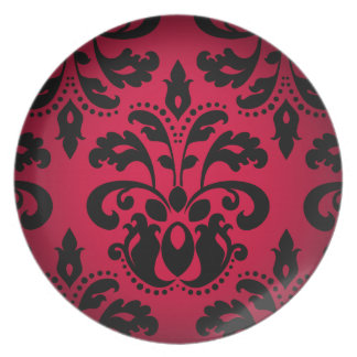 Black and red gothic victorian vintage damask plate