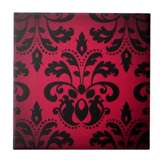 Black and red gothic victorian vintage damask tile