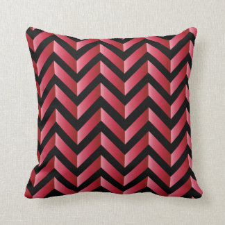 Black and Red Gradient Chevron Throw Pillow