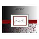 Black  and red graduated wedding set post card