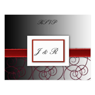 Black  and red graduated wedding set postcard