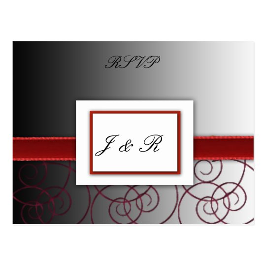 Black  and red graduated wedding set postcard
