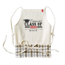 Black and Red Graduation Gear Zazzle HEART Apron