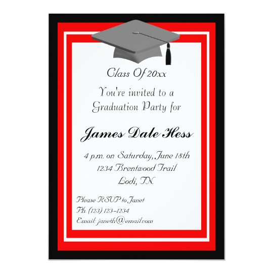 Black and red graduation party invitation zazzle black and red graduation party invitation filmwisefo