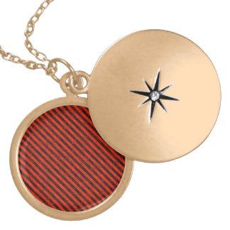Black and Red Hazard Striped Locket Necklace
