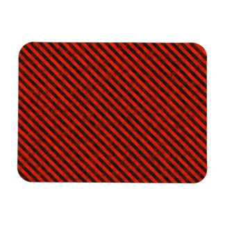 Black and Red Hazard Striped Magnet